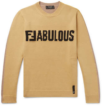 Fendi Logo-Intarsia Virgin Wool Sweater