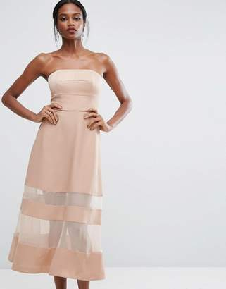 Aq/Aq AQ AQ Bandeau Maxi Dress With Sheer Inserts