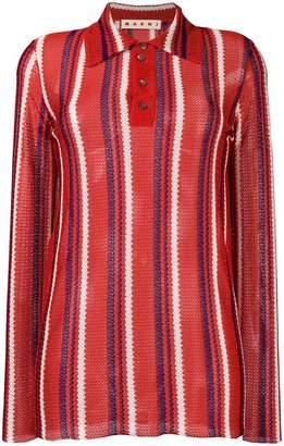 Marni embroidered long-sleeve polo top