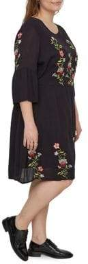Junarose Plus Three-Quarter Sleeves Floral Sheer Dress