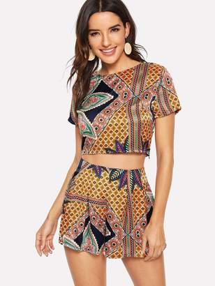 Shein Ornate Print Crop Top & Boxed Pleated Skirt Set
