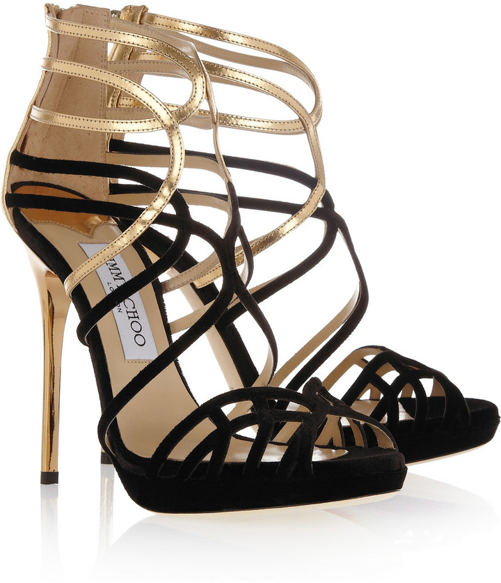 Jimmy Choo Melvin velvet and metallic leather sandals