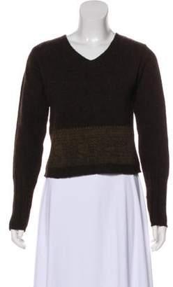 Dries Van Noten Wool Cropped Sweater Brown Wool Cropped Sweater