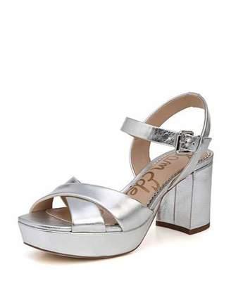 Sam Edelman Jolene Distressed Metallic Chunky-Heel Sandal