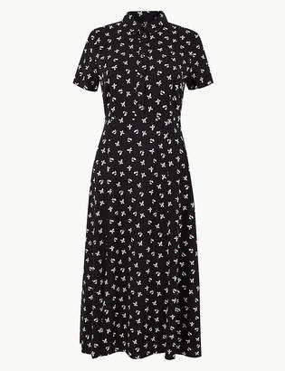 Marks and Spencer Floral Print Shirt Midi Dress