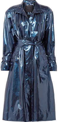 Marc Jacobs Belted Metallic Vinyl Trench Coat - Blue