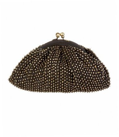 Beaded Bronze Metallic Clutch