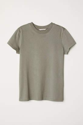 H&M Silk-blend Jersey Top - Green