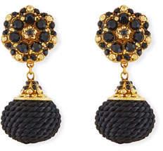 Jose & Maria Barrera Jet Black Beaded Double-Drop Clip-On Earrings