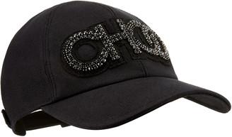 Jimmy Choo REESE Black Canvas Baseball Cap with Crystal CHOO logo