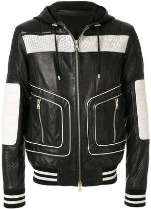 Balmain colour-block hooded biker jacket