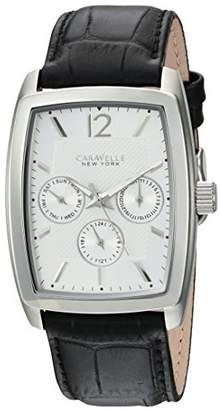 Caravelle New York Men's Stainless Steel Analog-Quartz Watch with Leather-Crocodile Strap