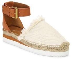 See by Chloe Glyn Frayed Canvas & Leather Ankle-Strap Platform Espadrilles $175 thestylecure.com