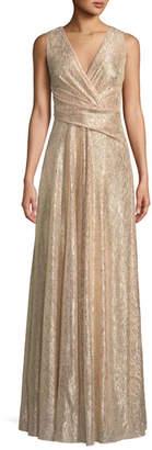 Talbot Runhof Surplice-Neck Sleeveless A-Line Laminated Plisse Evening Gown