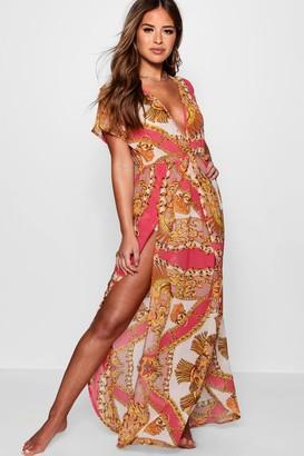 boohoo Petite Scarf Print Wrap Beach Maxi Dress