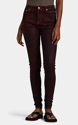 Rick Owens Women's Waxed-&-Dyed Skinny Jeans - Dark Red