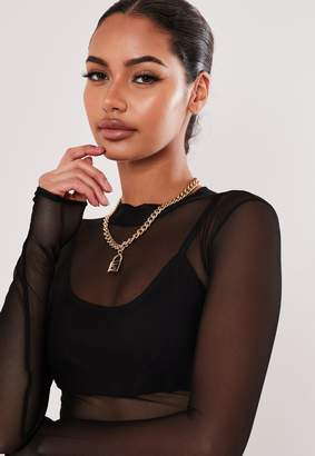 Missguided Gold Look S Initial Padlock Chain Necklace