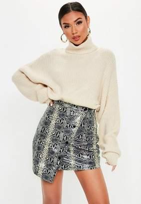 Missguided Grey Snake Print Vinyl Asymmetric Mini Skirt, Grey