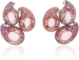 Arunashi One-Of-A-Kind Paisley Pink Tourmaline Earrings