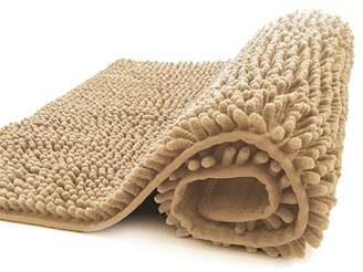 Unbranded Non-Slip Shaggy Microfiber Chenille Bath Rug Mat, Extra Soft and Absorbent Machine Washable, Perfect for Bath, Tub, and Shower (Light Brown, 27.5 x 47 Inches)