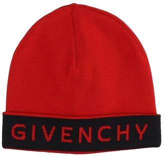 Givenchy Red Wool Beanie Cap