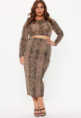 Missguided Plus Size Brown Snake Print Crop Top and Midi Skirt Co Ord Set