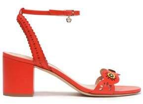 Tory Burch Marguerite Floral-appliqued Laser-cut Leather Sandals