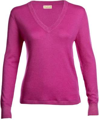 Asneh - Mathilda Fine Knit Cashmere V Neck Phlox Pink