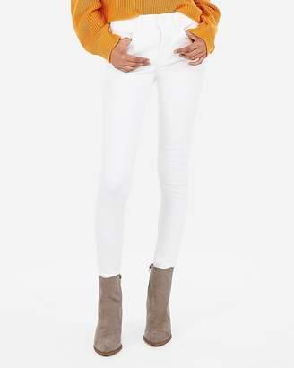 Express Mid Rise Denim Perfect White Jean Leggings
