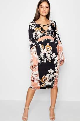boohoo Petite Matte Satin Kimono Sleeve Midi Dress