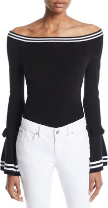 KENDALL + KYLIE Off-the-Shoulder Long-Sleeve Ruffle Bodysuit