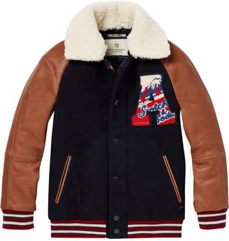 Scotch & Soda Wool & Leather Varsity Jacket