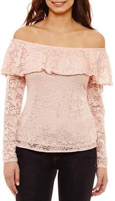 Bold Elements Off The Shoulder Long Sleeve Ruffle Lace Top