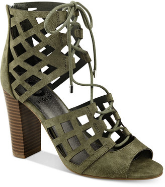 G by GUESS Iniko Caged Lace-Up Sandals $69 thestylecure.com