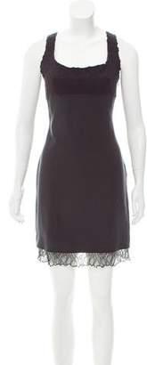 Richard Tyler Lace-Trimmed Silk Dress