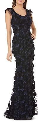 Carmen Marc Valvo Floral Appliqué Cap Sleeve Gown
