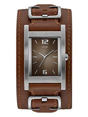 GUESS Genuine Leather Casual Square Cuff Watch. Color: (Model: U1165G1)
