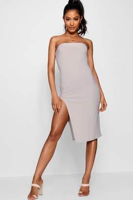 boohoo Bandeau Thigh Split Midi Dress