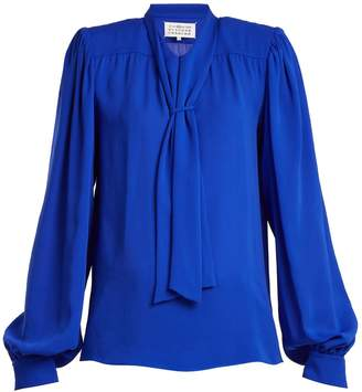 Maison Margiela Tie-neck silk blouse
