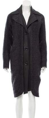 Zero Maria Cornejo Leather-Paneled Wool-Blend Coat