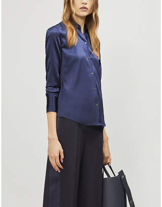 Theory Pointed-collar satin shirt