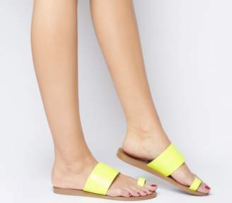 Office Scuba Toe Loop Sandals Neon Yellow Leather