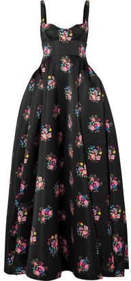 Emilia Wickstead Floral-print Satin Gown - Black