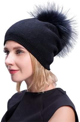 0468a9ccdfa MinShu Cashmere Hats Pompom Beanies Fur Hat Female Warm Caps With Fur Pompom  Bobble