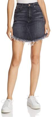 7 For All Mankind Frayed Denim Mini Skirt in Vintage Bedford Black