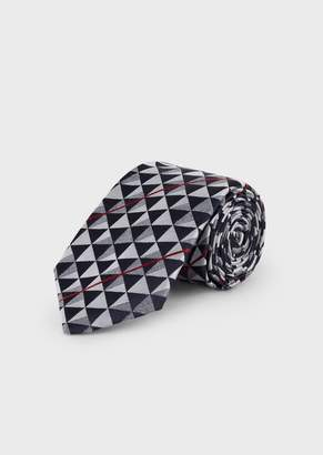 Giorgio Armani Tie In Jacquard Embroidered Fabric With Geometric Motif