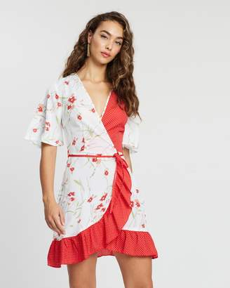 Missguided Floral Polka Dot Frill Wrap Front Dress