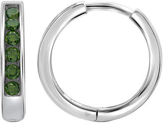 FINE JEWELRY 1/4 CT. T.W. Color-Enhanced Green Diamond Sterling Silver Hoop Earrings