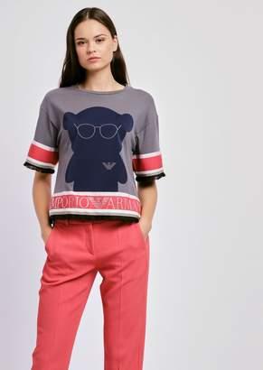 Emporio Armani Sweater With Manga Bear Print And Rhinestone Lettering On Hem
