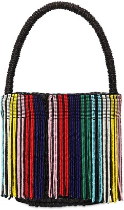 Mini Rainbow Beaded Straw Bucket Bag